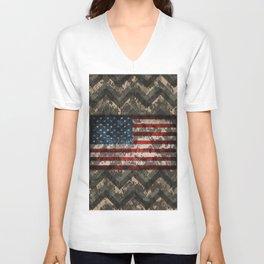 Digital Camo Patriotic Chevrons American Flag Unisex V-Neck