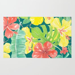 Tropical garden, hibiscus plumeria and palm leaves Rug