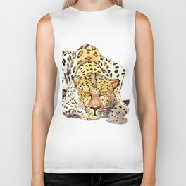 Watercolor leopard Biker Tank