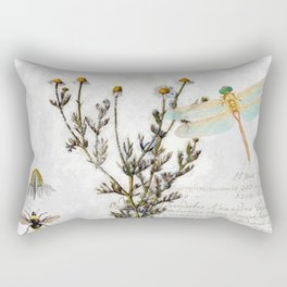Chamomile Herb, Dragonfly Bumble Bee Botanical painting, Cottage style Rectangular Pillow