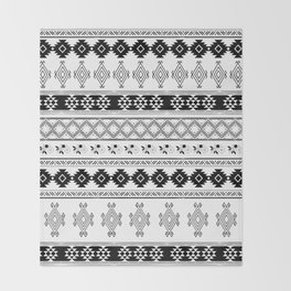 Black & White Primitive Pattern Throw Blanket
