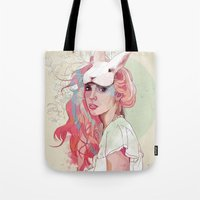 ariana grande Tote Bags featuring Sweet Party by Ariana Perez