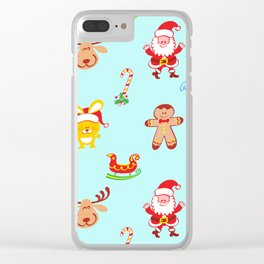 Cute Santa Claus, reindeer, bunny and cookie man Christmas pattern Clear iPhone Case