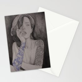 girl with tattoos  Stationery Cards
