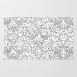 Stegosaurus Lace - White / Silver Rug