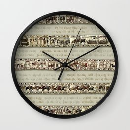 Bayeux Tapestry on cream - Full scenes and description Wall Clock