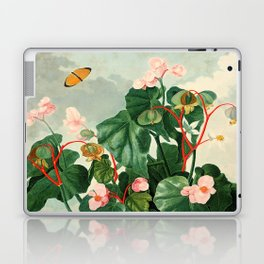 Pink Floral The Oblique-Leaved Begonias : Temple of Flora Laptop & iPad Skin
