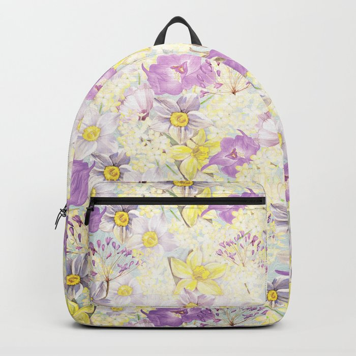 Vintage pattern- Spring in purple and yellow- daffodils and anemones Backpack