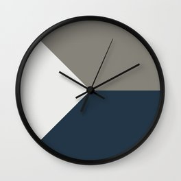 Blue Grey White Abstract Geometric Art Wall Clock