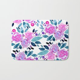 Abstract roses bouquet - pink and teal Bath Mat