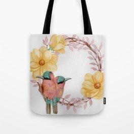 """""""Love Birds"""" floral watercolor wreath Tote Bag"""