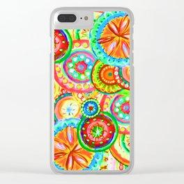 Vibrant Floral Design Clear iPhone Case