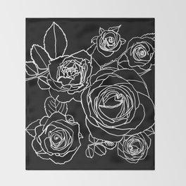 Feminine and Romantic Rose Pattern Line Work Illustration on Black Throw Blanket