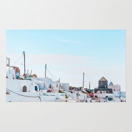 Santorini Greece Ligh Blue Sky Rug
