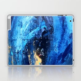 Vortex: a vibrant, blue and gold abstract mixed-media piece Laptop & iPad Skin