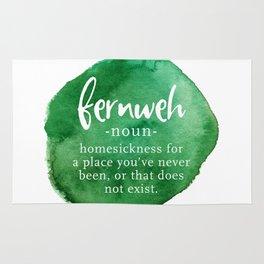 Fernweh Word Nerd - Green Watercolor Rug
