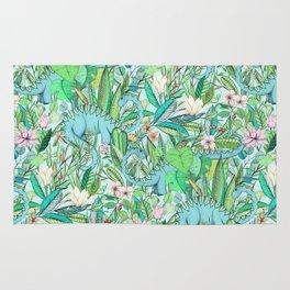 Improbable Botanical with Dinosaurs - soft pastels Rug