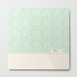 Mary - Mint and Cream Metal Print