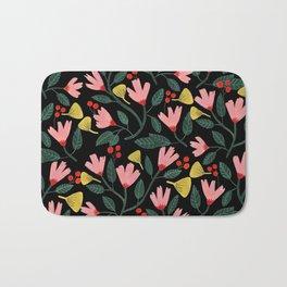 Pink Floral Pattern on Black Bath Mat