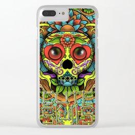 Cute Skull Dia de Los Muertos Clear iPhone Case