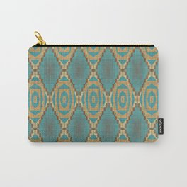 Teal Turquoise Caramel Coffee Brown Rustic Native American Indian Cabin Mosaic Pattern Carry-All Pouch