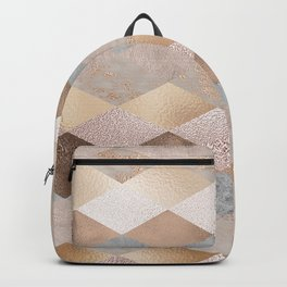 Copper and Blush Rose Gold Marble Argyle Backpack