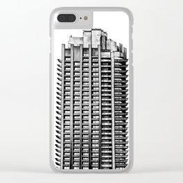 Barbican - Brutalist building illustration Clear iPhone Case