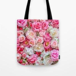 Pink & Red Roses Tote Bag