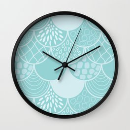 Abstract blue scales doodle vector repeating pattern Wall Clock
