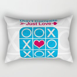 Don't COMPETE Just LOVE (Tic Tac Toe) Rectangular Pillow