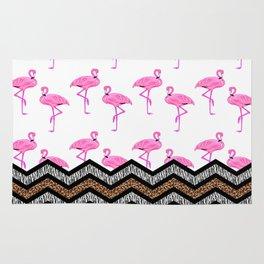 Animal Skin Print Chevron Pattern with Flamingos Rug