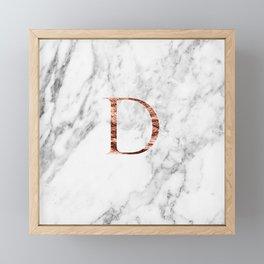 Monogram rose gold marble D Framed Mini Art Print