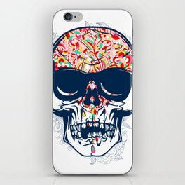 Dead Skull Zombie with Brain iPhone Skin