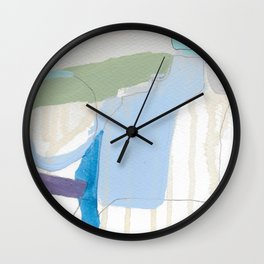 stone by stone 3 - abstract art fresh color turquoise, mint, purple, white, gray Wall Clock