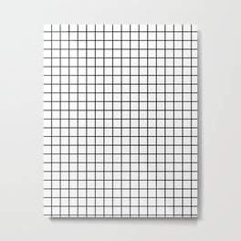 Emmy -- Black and White Grid, black and white, grid, monochrome, minimal grid design cell phone case Metal Print