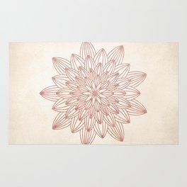 Mandala Blossom Rose Gold on Cream Rug