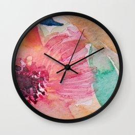 Watercolor flowers and leaves Wall Clock