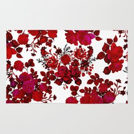 Botanical romantic red black elegant roses floral Rug