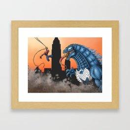 Spider-man vs. Venomzilla Framed Art Print