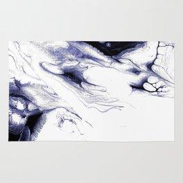 Indigo, black & white abstract I Rug