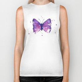 Butterfly Purple Watercolor Animal Biker Tank