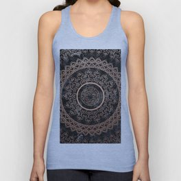 Mandala - rose gold and black marble Unisex Tank Top