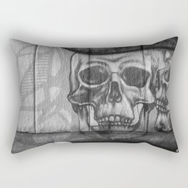 Skulls and Skating (Black and White) Rectangular Pillow
