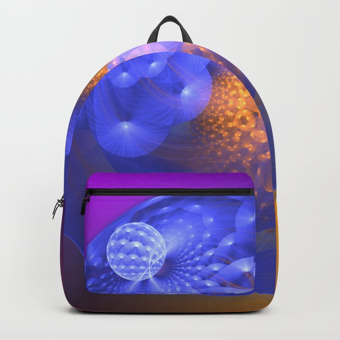 Out of the blue, fractal 3-D abstract Backpack