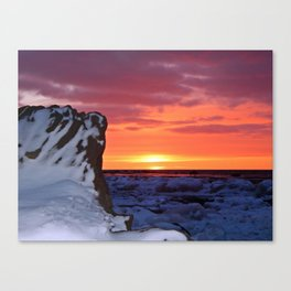 Golden Sunset on Sea and  Snow Canvas Print