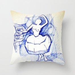 Ballerina in blue pen Throw Pillow