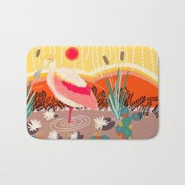 Roseate Spoonbill in the Sunset Bath Mat