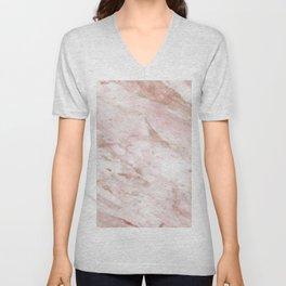 Pink marble - rose gold accents Unisex V-Neck