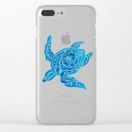 Vintage Hawaiian Tribal Turtle Clear iPhone Case