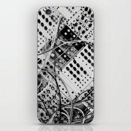 analog synthesizer  - diagonal black and white illustration iPhone Skin